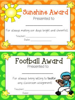 110 End of Year Award Certificates in Half Sheet Format