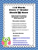 110 Words Every 1st Grader Should Know High Frequency Word