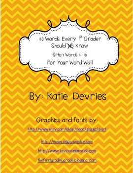 110 Words Every 1st Grader Should Know Word Wall