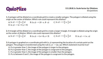 111.28.B.3.c Scale factor for Dilations | 8th Grade Math | Print & Scan Test