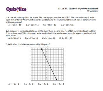 111.28.B.5.i Equations of y=mx+b in situations   8th Grade Math   Print & Scan T