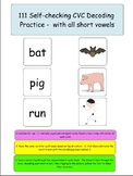 111 CVC Words for Decoding-with pics for self-checking and