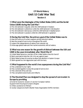 WORLD UNIT 13 LESSON 10b. Cold War TEST (2nd Version) and KEY