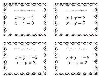 111 Systems of Equations {Task Cards}