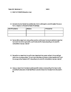 1.1.1 Worksheet - What is physics?