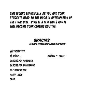 """112 Spanish Class Video Gracias Por Aprender for Spanish Class Closure """"Señor"""""""