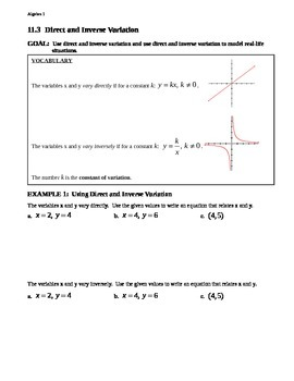 11.3 Direct and Inverse Variation