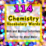 114 Chemistry Vocabulary Words with + without Definitions