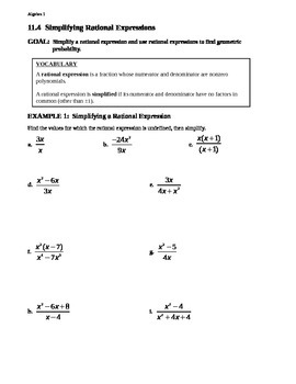 11.4 Simplifying Rational Expressions