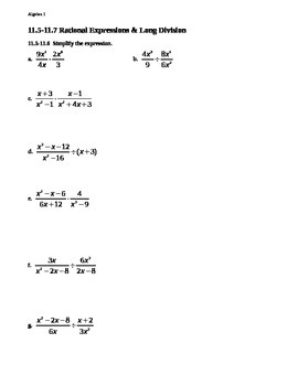 11.5 - 11.7 Rational Expressions and Long Division
