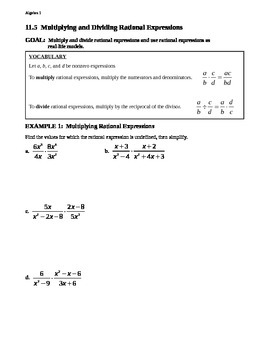 11.5 Multiplying and Dividing Rational Expressions