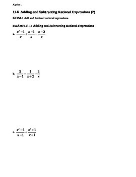 11.6 Adding and Subtracting Rational Expressions (2)
