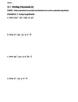 11.7 Dividing Polynomials (2)