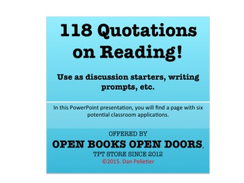 118 Quotations on the Impact of Reading--PowerPoint