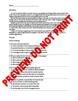 11th/12th Grade CCSS Author's Point of View Assessment