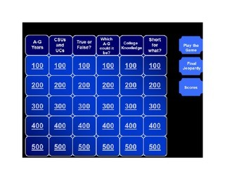 High School CA College Planning PPT, worksheet, Jeopardy.