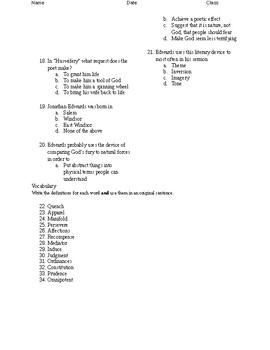 11th Grade Puritan Literature Test