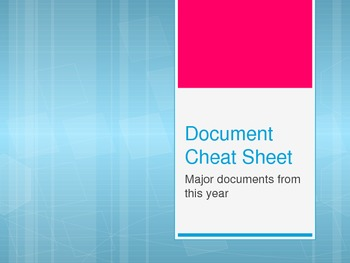 11th Grade US History Famous Documents Cheat Sheet Foldable