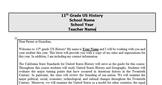 11th Grade US History Syllabus
