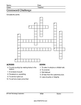 11th Grade Vocabulary Worksheets by STEMtopics | TpT