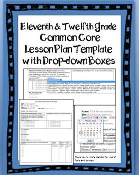 11th and 12th Common Core Lesson Plan Template with Drop-d