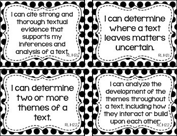 11th and 12th Grade ELA I Can Statements for CCSS Standards (Black Dots)