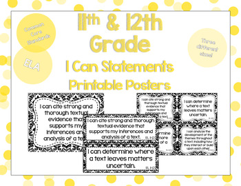 11th and 12th Grade ELA I Can Statements for CCSS Standards (Damask)