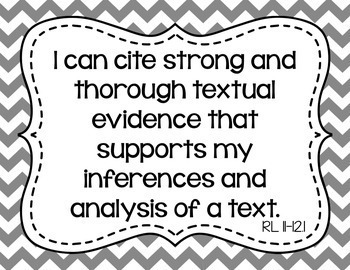 11th and 12th Grade ELA I Can Statements for CCSS Standards (Gray Chevron)