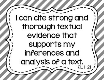 11th and 12th Grade ELA I Can Statements for CCSS Standards (Gray Stripes)