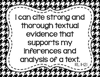 11th and 12th Grade ELA I Can Statements for CCSS Standards (Houndstooth)
