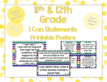 11th and 12th Grade ELA I Can Statements for CCSS Standards (Jewel Tone Chevron)