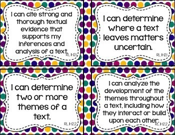 11th and 12th Grade ELA I Can Statements for CCSS Standards (Jewel Tone Dots)