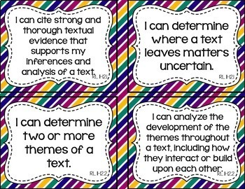 11th and 12th Grade ELA I Can Statements for CCSS Standards (Jewel Tone Stripes)