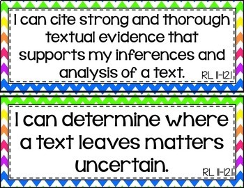 11th and 12th Grade ELA I Can Statements for CCSS Standards (Rainbow Chevron)