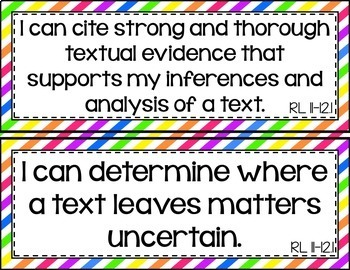 11th and 12th Grade ELA I Can Statements for CCSS Standards (Rainbow Stripes)
