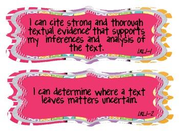 """11th/12th Grade CCSS ELA """"I Can"""" Statements"""