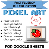 11x Multiplication Pixel Art! Digital Practice for Math Facts with Secret Reveal