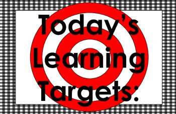 11x17 Gingham Daily Learning Targets Bulletin Board Set