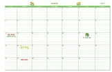 11x17 Large March 2017 Calendar Green Grid Lines Moon Phas