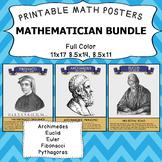 11x17 Mathematician Poster Bundle - Fibonacchi, Euler, Arc