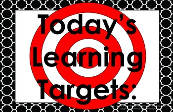 11x17 Moroccan Tile Daily Learning Targets Bulletin Board Set ART