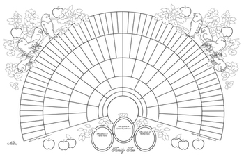 11x17 Printable Genealogy Fan Chart Coloring Page Bird