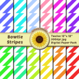 12 12x12 Digital Paper Set: Bowtie Stripes; Scrapbooking,