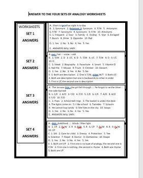 12 TYPES OF ANALOGIES WORKSHEETS
