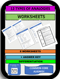 12 TYPES OF ANALOGIES WORKSHEETS