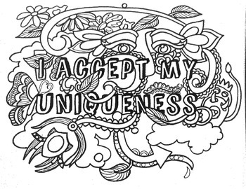 12 Affirmations, Coloring Pages, HandOuts, Posters, Easy to Reproduce B&W