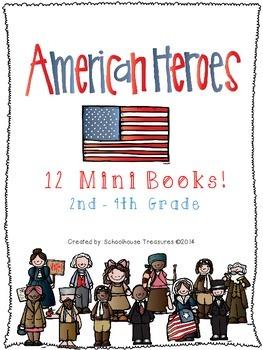 12 American Hero Mini-Books - Grades 2-4