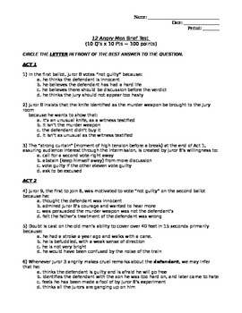12 Angry Men Brief Multiple Choice Test (Reasonable Doubt; Racism)