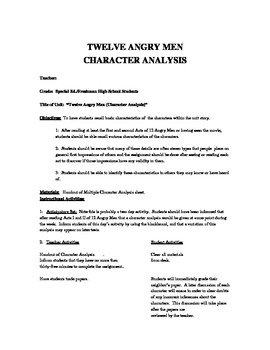 12  Angry Men Character Analysis Plan