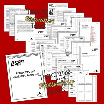 12 Angry Men Lessons, Assessments, Writing Prompts, Performance Pack, Vocabulary